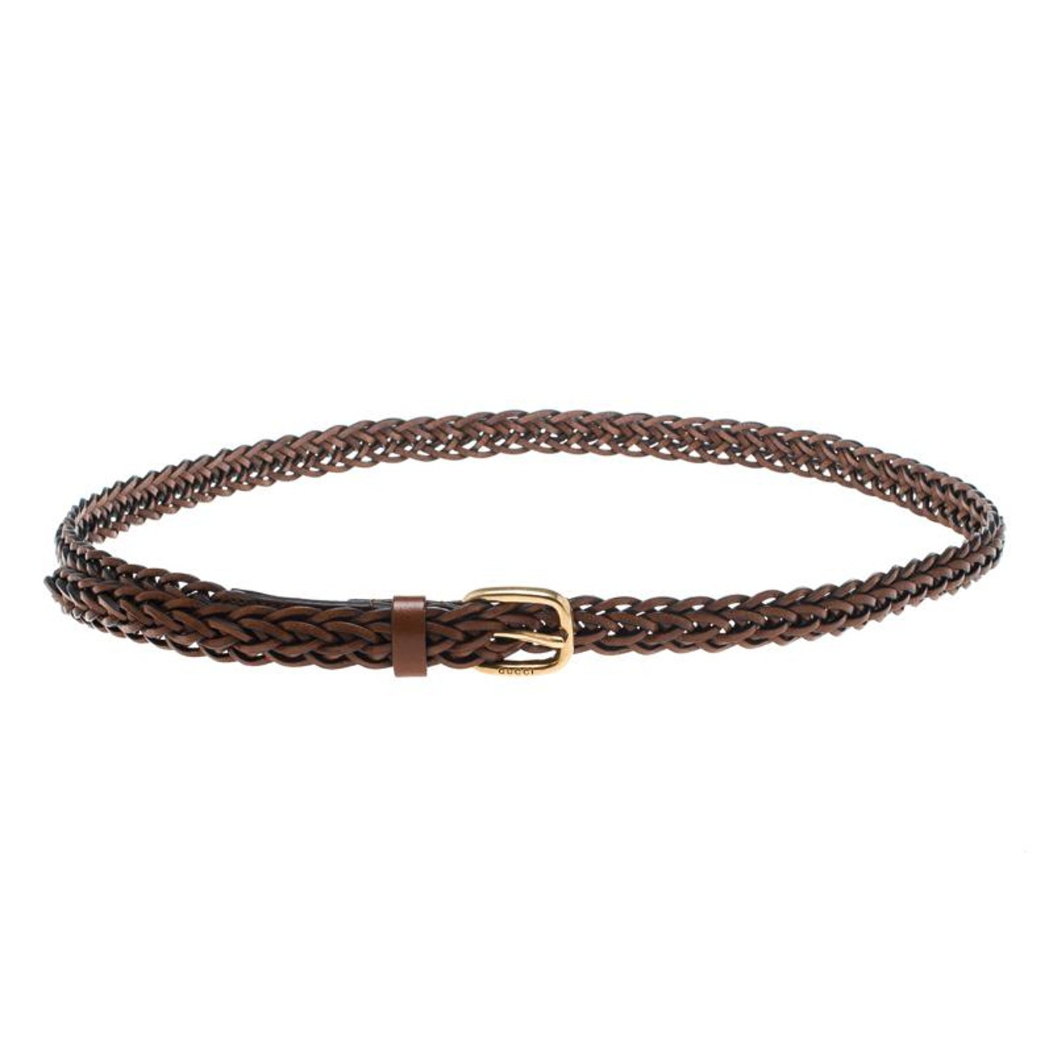 c001d57eb4d Gucci Brown Braided Leather Skinny Belt 85 CM For Sale at 1stdibs