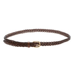 Gucci Brown Braided Leather Skinny Belt 85 CM