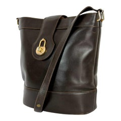 Gucci Brown Bucket Bag Golden Insert 1980s Leather