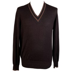 Gucci Brown Camel Hair and Silk Men V Neck Sweater Size M