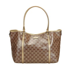 Gucci Brown Coated Canvas Fabric GG Crystal Joy Tote Bag Italy