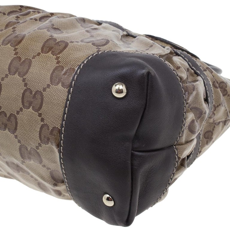 Gucci Brown Coated Canvas Monogram Crytal Mix Tote For Sale 6