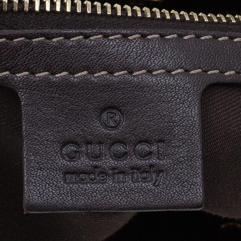 Gucci Brown Coated Canvas Monogram Crytal Mix Tote For Sale 9