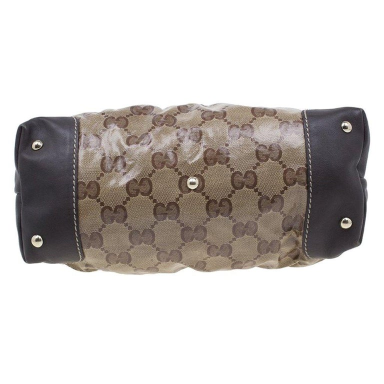 Women's Gucci Brown Coated Canvas Monogram Crytal Mix Tote For Sale