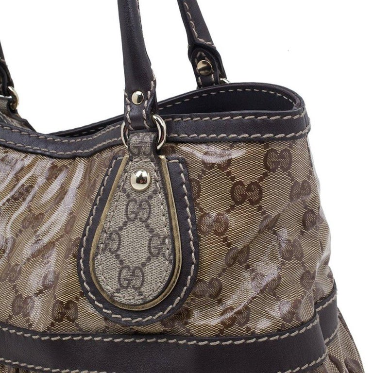 Gucci Brown Coated Canvas Monogram Crytal Mix Tote For Sale 1