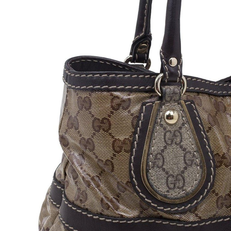 Gucci Brown Coated Canvas Monogram Crytal Mix Tote For Sale 2