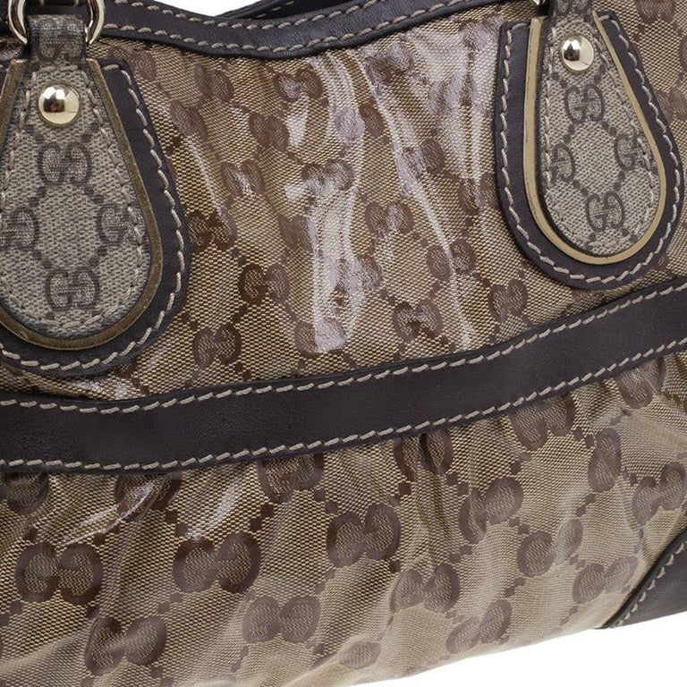 Gucci Brown Coated Canvas Monogram Crytal Mix Tote For Sale 3