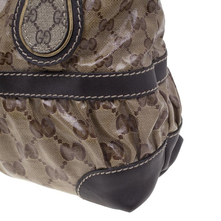 Gucci Brown Coated Canvas Monogram Crytal Mix Tote For Sale 4