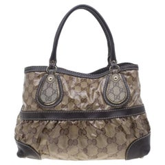 Gucci Brown Coated Canvas Monogram Crytal Mix Tote