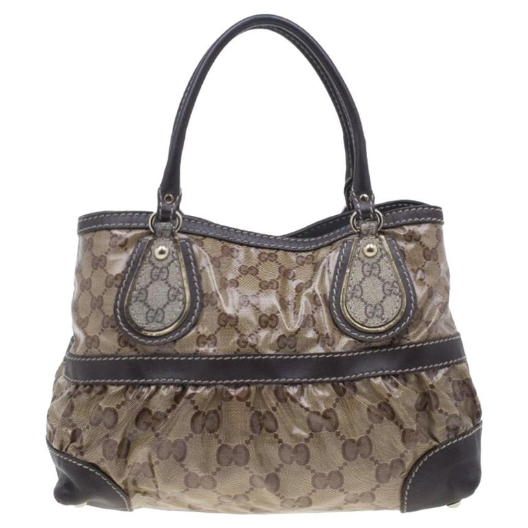 Gucci Brown Coated Canvas Monogram Crytal Mix Tote For Sale