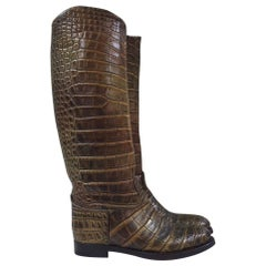 Gucci Brown Crocodile Leather Riding Boots