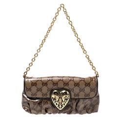 Gucci Brown Crystal Canvas Hysteria Evening Clutch Bag