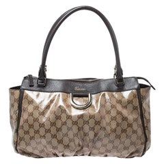 Gucci Brown Crystal Coated Canvas D Ring Tote