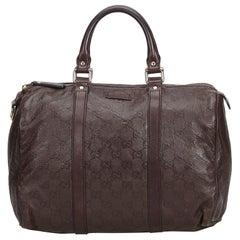Gucci Brown Dark Brown Leather Guccissima Joy Boston Bag Italy w/ Dust Bag