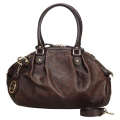 Gucci Brown Dark Brown Leather Guccissima Sukey Satchel Italy