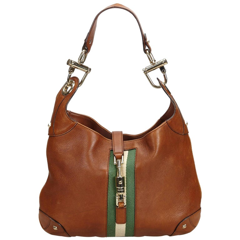 37d54e98051618 Gucci Brown Dark Brown Leather Nailhead New Jackie Shoulder Bag Italy For  Sale