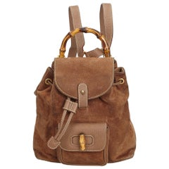 Gucci Brown Dark Brown Suede Leather Bamboo Drawstring Backpack Italy