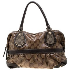 Gucci Brown/Ebony GG Crystal Coated Canvas and Leather Mix Tote