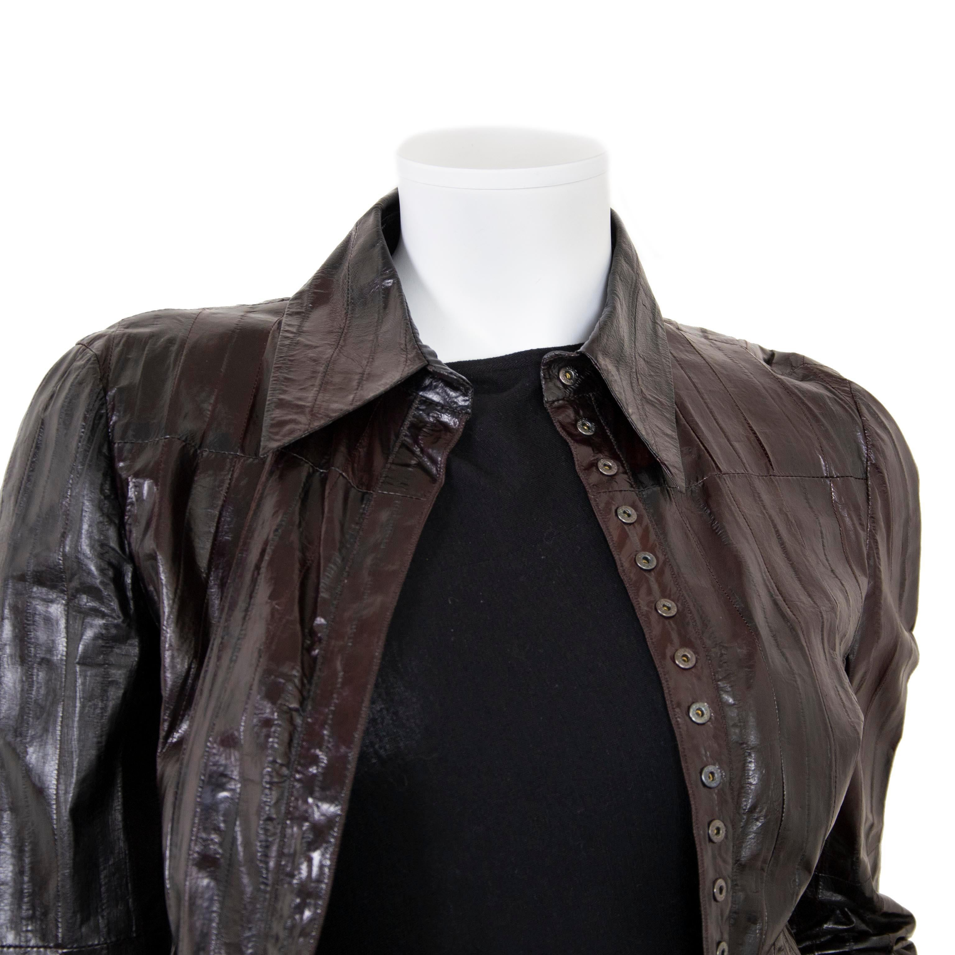 eadc14ad5 Gucci Brown Eel Leather Shirt - size IT40 For Sale at 1stdibs