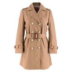 Gucci Brown Faux-Pearl Buttoned Trench Coat IT 40