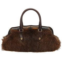 Gucci Brown Fur Bamboo Frame Handbag