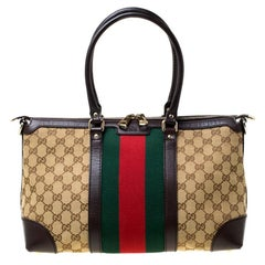 Gucci Brown GG Canvas and Leather Large Web Treasure Tote