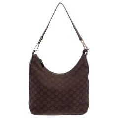 Gucci Brown GG Canvas And Leather Top Zip Hobo