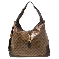 Gucci Brown GG Crystal Canvas and Leather Large New Jackie Hobo