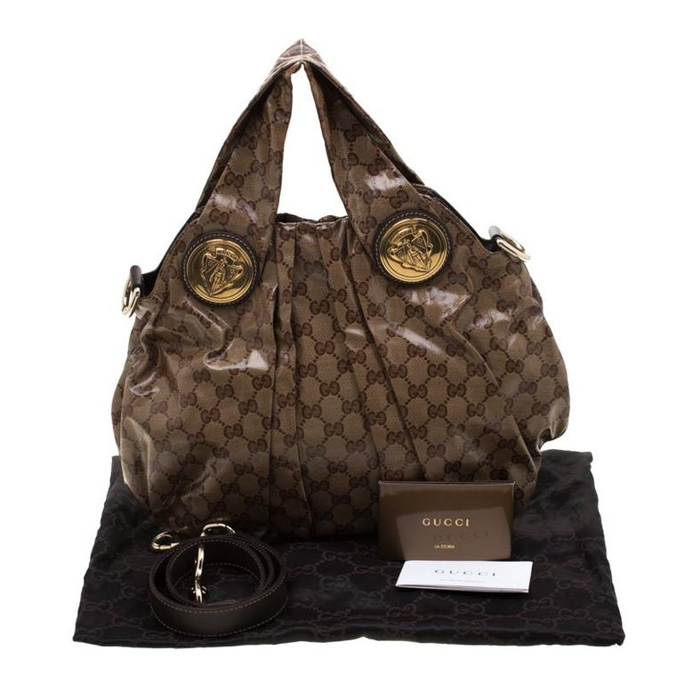 Gucci Brown GG crystal Canvas Small Hysteria Hobo For Sale 8