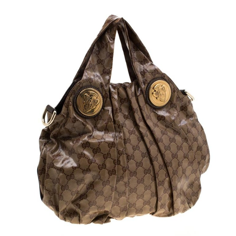 Women's Gucci Brown GG crystal Canvas Small Hysteria Hobo For Sale
