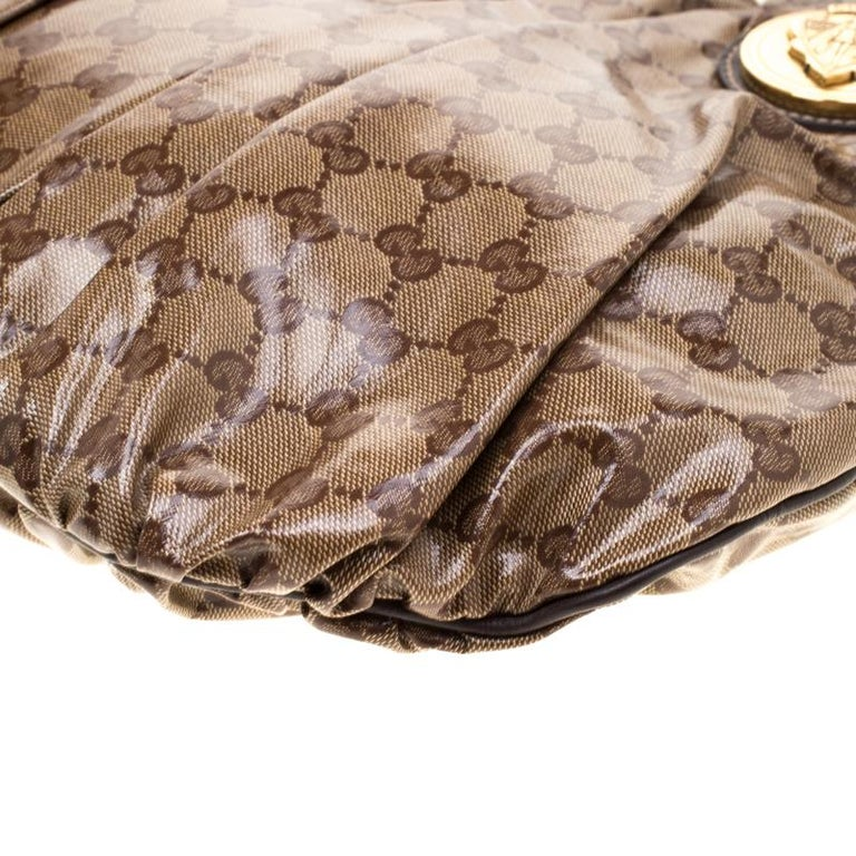 Gucci Brown GG crystal Canvas Small Hysteria Hobo For Sale 2