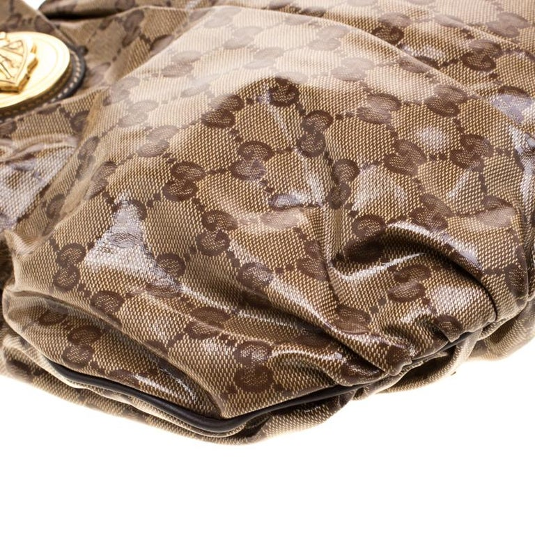 Gucci Brown GG crystal Canvas Small Hysteria Hobo For Sale 3