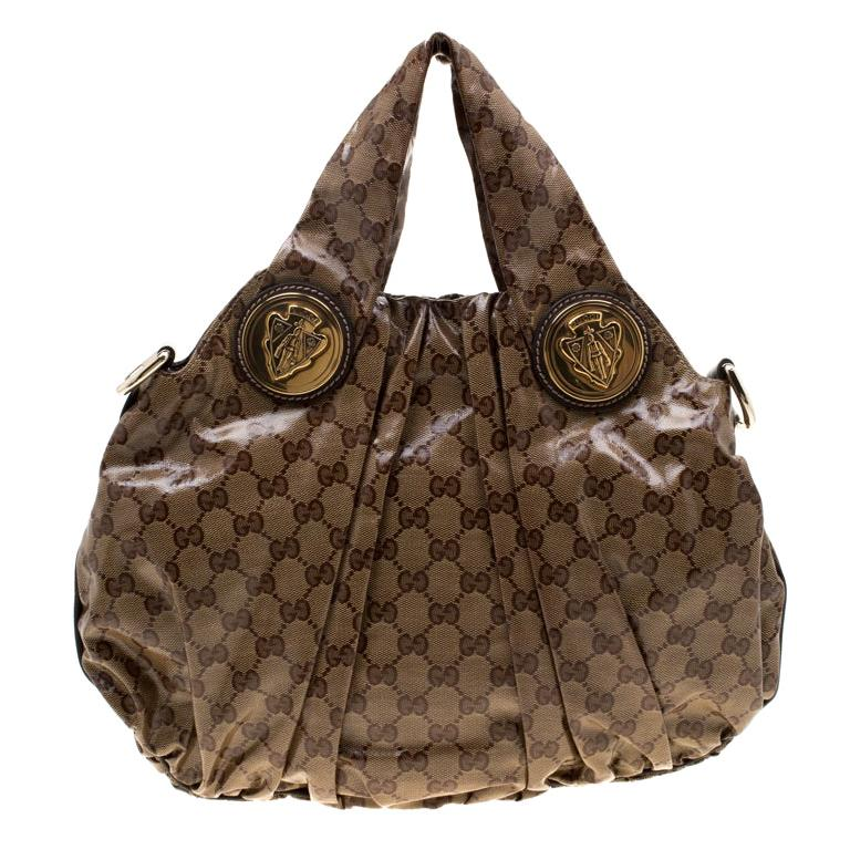 Gucci Brown GG crystal Canvas Small Hysteria Hobo For Sale