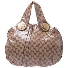 Gucci Brown GG Crystal Canvas Small Hysteria Hobo