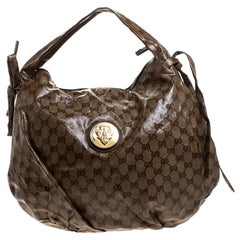 Gucci Brown GG Crystal Canvas Small Hysteria Hobo