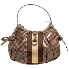 Gucci Brown GG Crystal Canvas Web Stripe Hobo