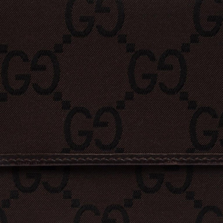 Gucci Brown GG Fabric Continental Wallet For Sale 2