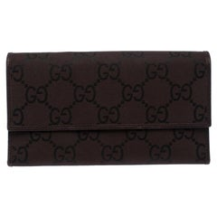 Gucci Brown GG Fabric Continental Wallet
