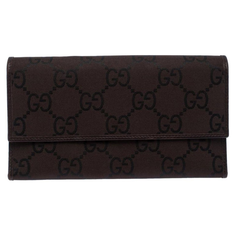 Gucci Brown GG Fabric Continental Wallet For Sale
