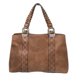 Gucci Brown GG Leather Bamboo Bar Tote