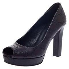 Gucci Brown GG Leather Peep Toe Platform Pumps Size 35