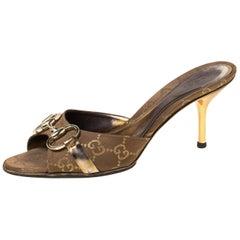 Gucci Brown/Gold GG Canvas Horsebit Slides Sandals Size 36