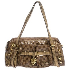 Gucci Brown/Gold GG Crystal Canvas Star Studded Satchel