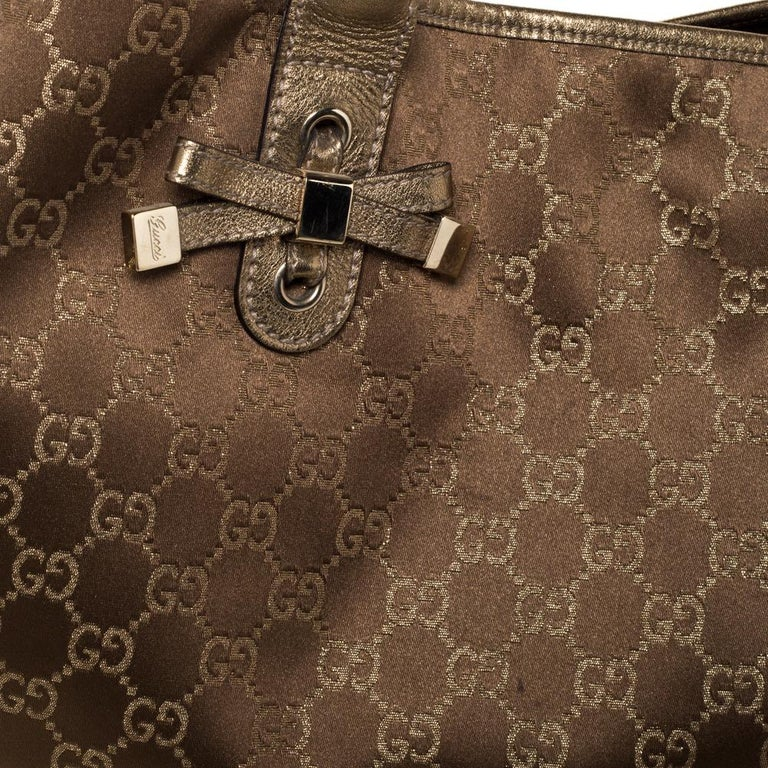 Gucci Brown/Gold GG Fabric and Leather Large Princy Tote For Sale 1