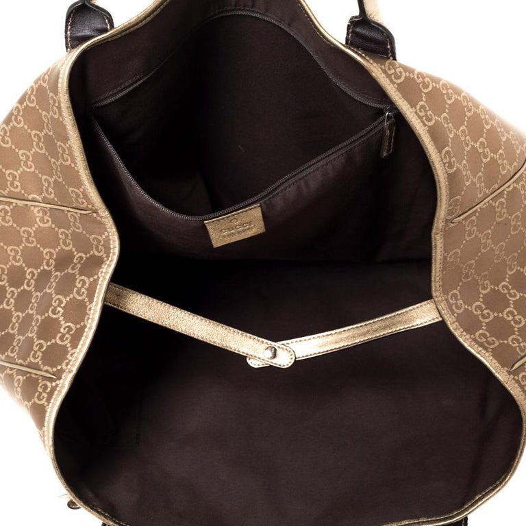 Gucci Brown/Gold GG Fabric and Leather Large Princy Tote For Sale 2