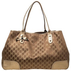 Gucci Brown/Gold GG Fabric and Leather Large Princy Tote