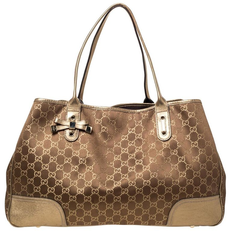 Gucci Brown/Gold GG Fabric and Leather Large Princy Tote For Sale