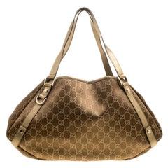 Gucci Brown/Gold GG Satin Abbey D-Ring Shoulder Bag