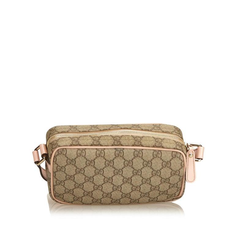 dc18e057bb7 Gucci Brown Guccissima Canvas Crossbody Bag In Good Condition For Sale In  Orlando