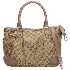 Gucci Brown Guccissima Canvas Sukey Satchel